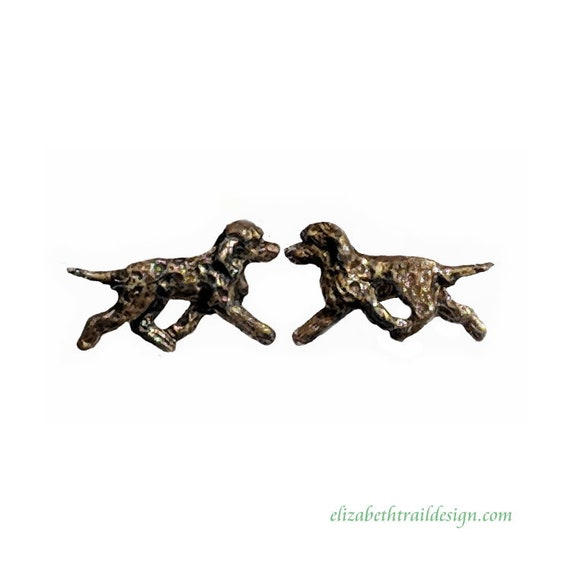 Irish Water Spaniel Post Earrings, Handcrafted Irish Water Spaniel Bronze Dog Jewelry Gift by IWS Owner Elizabeth Trail, stud earrings