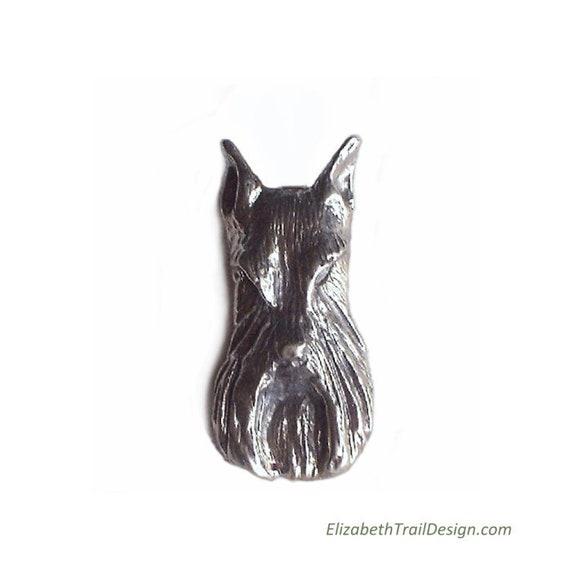 Schnauzer Tie Tack, Handcrafted Sterling Silver Schnauzer Jewelry, Original Dog Jewelry by Elizabeth Trail