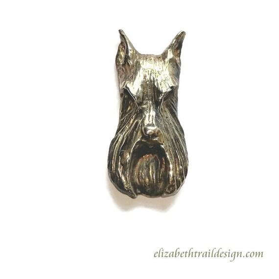 Schnauzer Tie Tack Handcrafted Bronze Schnauzer Jewelry, Original Dog Breed Jewelry by Elizabeth Trail, Bronze Schnauzer Pin