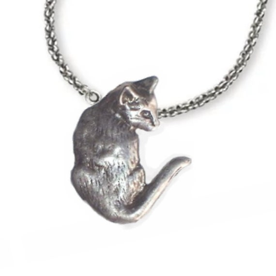 Cat Pendant Necklace Handcrafted Sterling Silver Cat Jewelry by Elizabeth Trail Design
