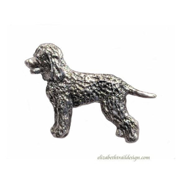 Irish Water Spaniel Brooch Pin,  Handcrafted Irish Water Spaniel Jewelry by Elizabeth Trail