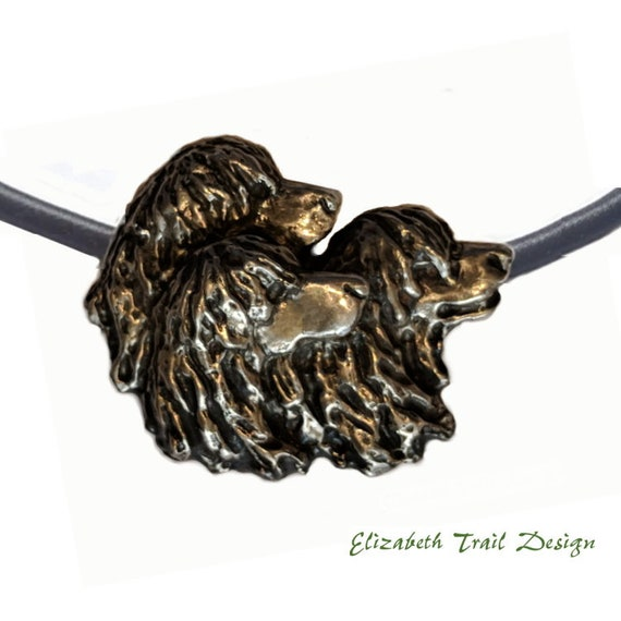 Irish Water Spaniel Necklace,  Bronze Irish Water Spaniel Pendant, Handcrafted  Dog Jewelry Jewellery by Elizabeth Trail