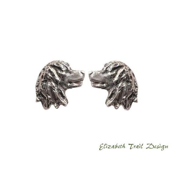 Irish Water Spaniel Head Post/Stud Earrings Handcrafted Sterling Dog Jewelry by Elizabeth Trail