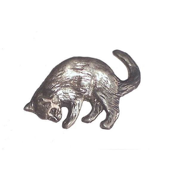 Cat Lapel Pin Handcrafted Cat Jewelry in Sterling Silver