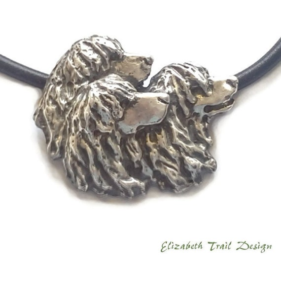 Irish Water Spaniel Pendant Necklace, Handcrafted Sterling Silver Irish Water Spaniel Jewelry Gifts, Original Dog Jewelry by Elizabeth Trail
