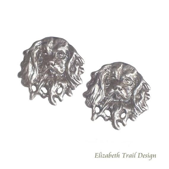 Cavalier King Charles Spaniel Cuff Links, Handcrafted Sterling Silver Cavalier Spaniel Jewelry, Elizabeth Trail Custom Dog Jewelry