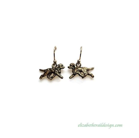 Irish Water Spaniel Earrings, Handcrafted Irish Water Spaniel Bronze Trotting Dog Jewelry Design by IWS Owner