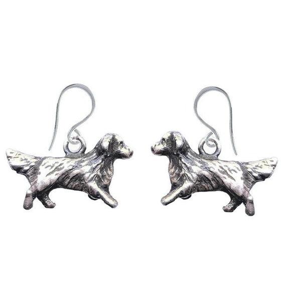 Golden Retriever Earrings, Handcrafted Sterling Silver Golden Retriever Jewelry, Original Dog Jewelry by Elizabeth Trail