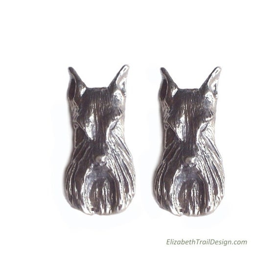 Schnauzer Earrings, Handcrafted Sterling Silver Schnauzer Jewelry, Original Dog Jewelry by Elizabeth Trail