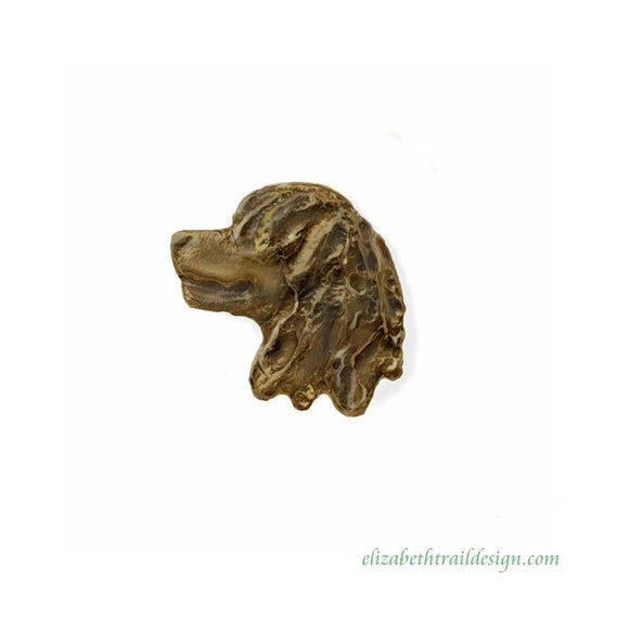 Irish Water Spaniel Head Lapel Pin,  Handcrafted Bronze Irish Water Spaniel Jewelry, Dog Jewelry by Elizabeth Trail