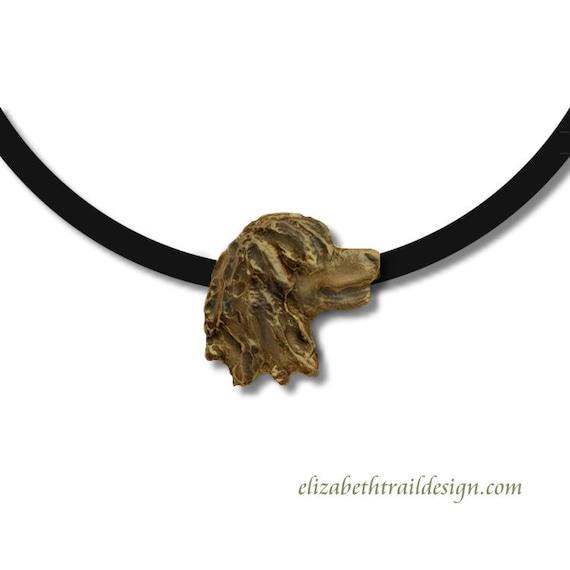 Irish Water Spaniel Necklace,  Irish Water Spaniel Pendant, Irish Water Spaniel Jewelry, Handmade Bronze Irish Water Spaniel Elizabeth Trail