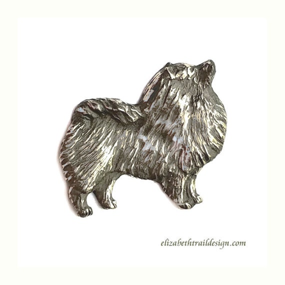 Keeshond Tie Tack, Handcrafted Sterling Silver Keeshond Jewelry, Original Dog Jewelry by Elizabeth Trail, Keeshond Gift, Keeshonden, Kees