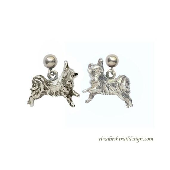 Papillon Earrings, Handcrafted Sterling Silver Papillon Jewelry, Elizabeth Trail Dog Jewelry, Butterfly Dog Papillon Dangle Earrings