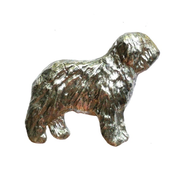 Old English Sheepdog Brooch Pin, Handcrafted Sterling Dog Breed Jewelry, Old English Sheepdog Jewelry