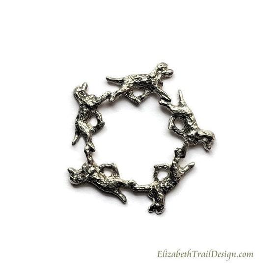 Irish Water Spaniel Circle Pin, Handcrafted Sterling Silver Irish Water Spaniel Jewelry, Original Dog Jewelry by Elizabeth Trail