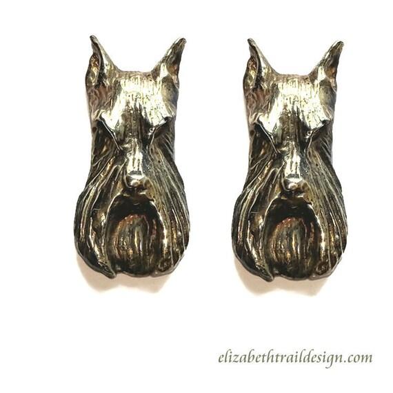 Schnauzer Earrings Handcrafted Schnauzer Jewelry in Bronze