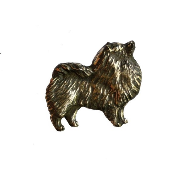 Keeshond Brooch Pin Handcrafted Bronze Elizabeth Trail Dog Jewelry Gift