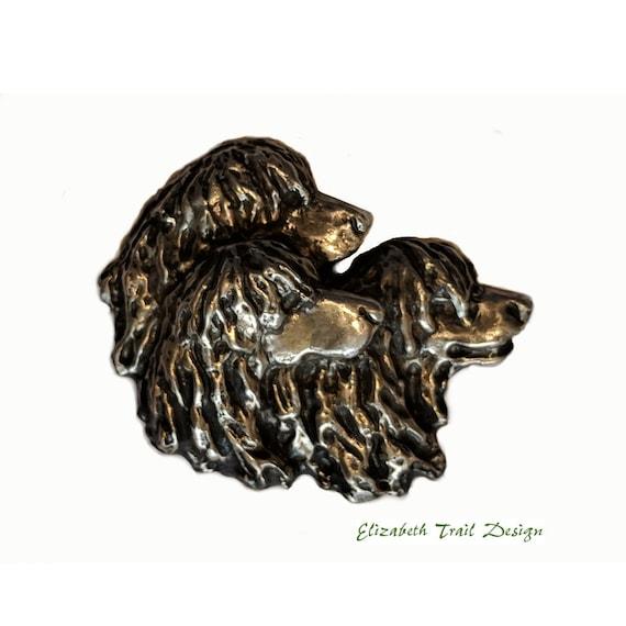 Irish Water Spaniel Brooch Pin, Handcrafted Bronze Irish Water Spaniel Dog Breed Jewelry Jewellery by Elizabeth Trail