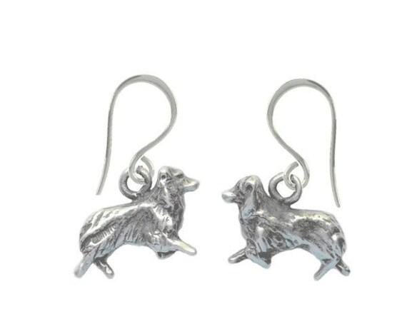 Australian Shepherd Earrings, Aussie Earrings, Handcrafted Sterling Silver Aussie Jewelry, Aussie Dangle Earrings