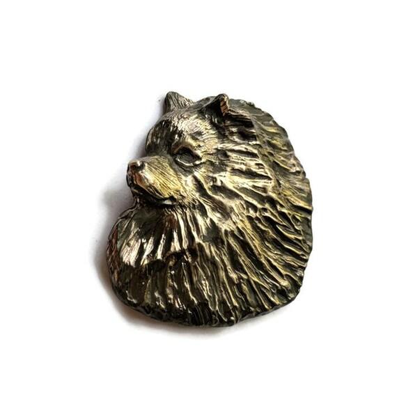 Keeshond Brooch Pin, Handcrafted Bronze Keeshond Jewelry, Original Elizabeth Trail Dog Jewelry, Keeshond Lapel Pin, Keeshonden, Kees