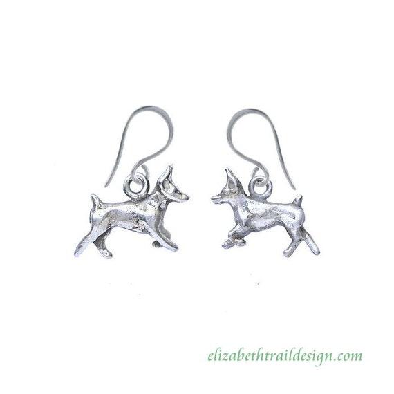 Handcrafted Doberman Pinscher Dangle Earrings, Original Sterling Silver Dog Jewelry by Elizabeth Trail, Doberman Pinscher Gift