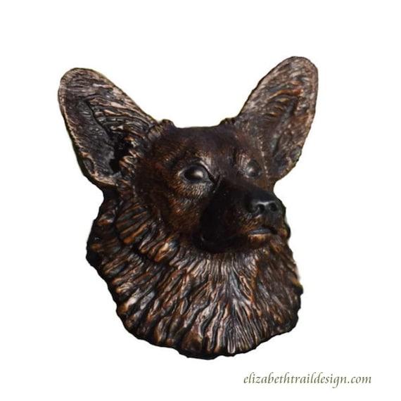 Corgi Bronze Sculpture, Life-sized Pembroke Welsh Corgi Head Bronze, Welsh Corgi Sculpture, Original bronze dog sculpture by Elizabeth Trail
