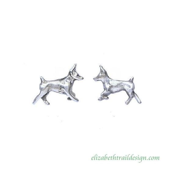 Handcrafted Doberman Pinscher  Earrings, Original Sterling Silver Dog Jewelry by Elizabeth Trail, Doberman Pinscher Gift