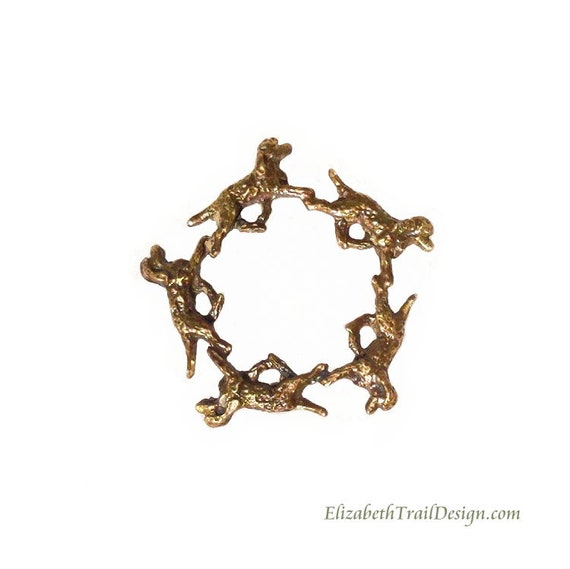 Irish Water Spaniel Circle Pin, Handcrafted Bronze Irish Water Spaniel Jewelry, Original Dog Jewelry by Elizabeth Trail