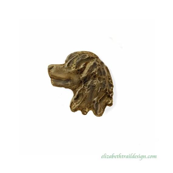 Irish Water Spaniel Head Tie Tack,  Handcrafted Bronze Dog Jewelry by Elizabeth Trail,  Irish Water Spaniel Gifts