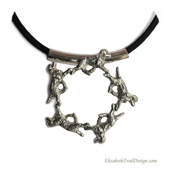 Irish Water Spaniel Circle Pendant, Handcrafted Sterling Silver Irish Water Spaniel Jewelry, Original Dog Jewelry by Elizabeth Trail