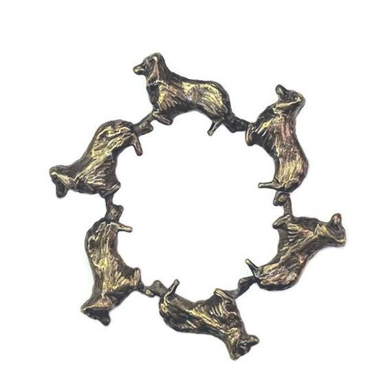 Australian Shepherd Brooch Pin,  Aussie pin, Bronze Circle of Aussies brooch, Aussie circle pin, Handcrafted Australian Shepherd Jewelry