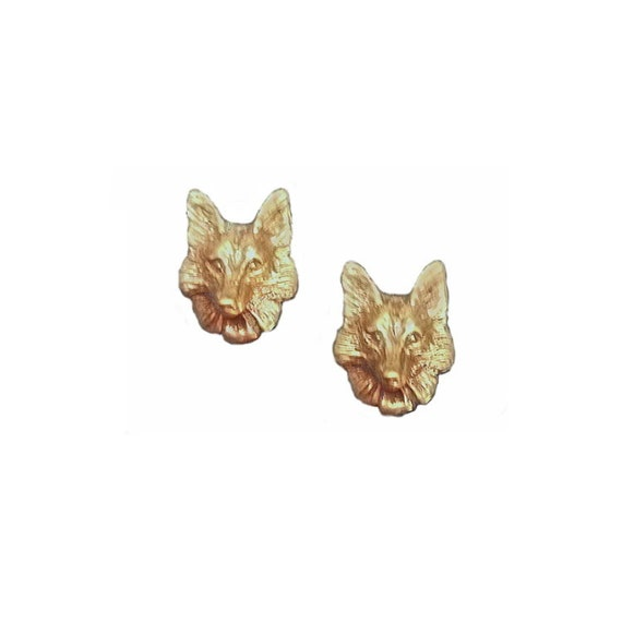 Fox mask earrings handcrafted in 14k gold, Fox and equestrian jewelry