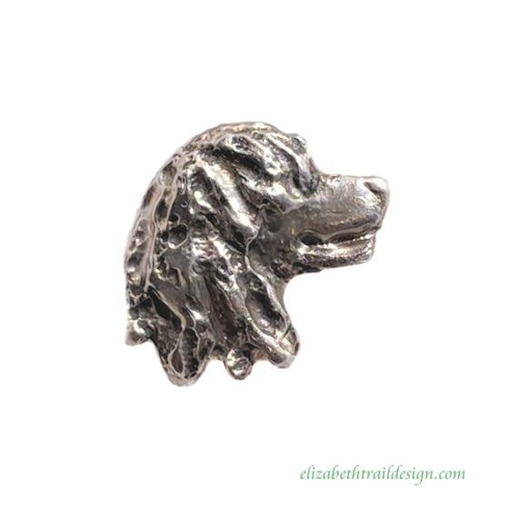 Irish Water Spaniel Head Tie Tack,  Handcrafted Sterling Silver Dog Jewelry  Irish Water Spaniel Gifts by Elizabeth Trail