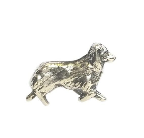 Australian Shepherd Tie Tack, Aussie Pin, Australian Shepherd Lapel Pin, Handcrafted Australian Shepherd Jewelry in Sterling Silver