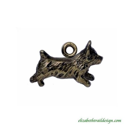 Handcrafted Bronze Norwich Terrier Charm, Original Dog Jewelry by Elizabeth Trail
