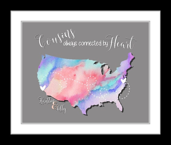 unique map art cousin gift gifts for cousins quotes family