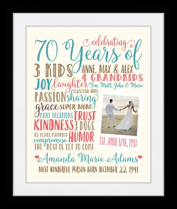 70th Birthday Gift For Mom Grandma 70 Year OId Grandmother
