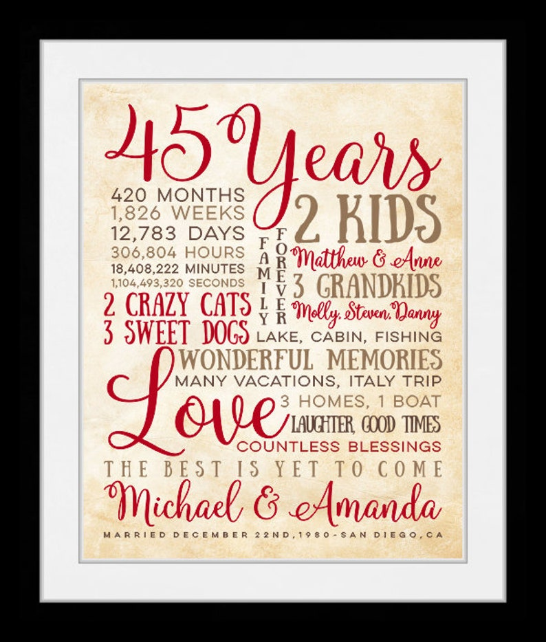 Anniversary Gift For Parents 45 Year Anniversary 45th Year Etsy