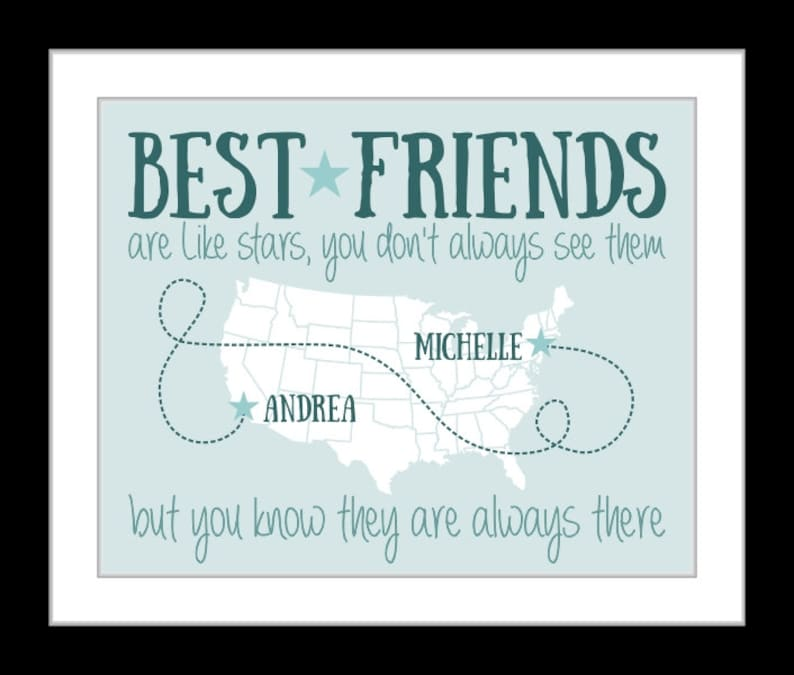 Friend print, gift for best friend gift, long distance friendship, college  friend moving away going away, valentines day gift, friend quote
