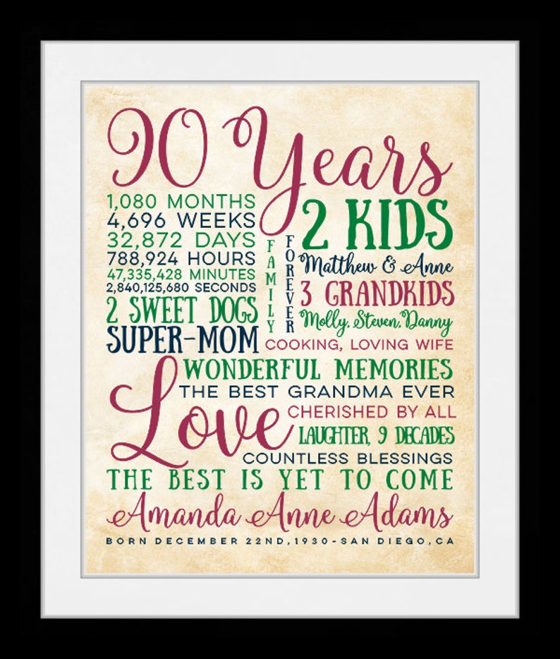 90th Birthday Gift For 90 Year OldBirthday Great Grandma Mother Grandmother Gifts Born 1929 00957