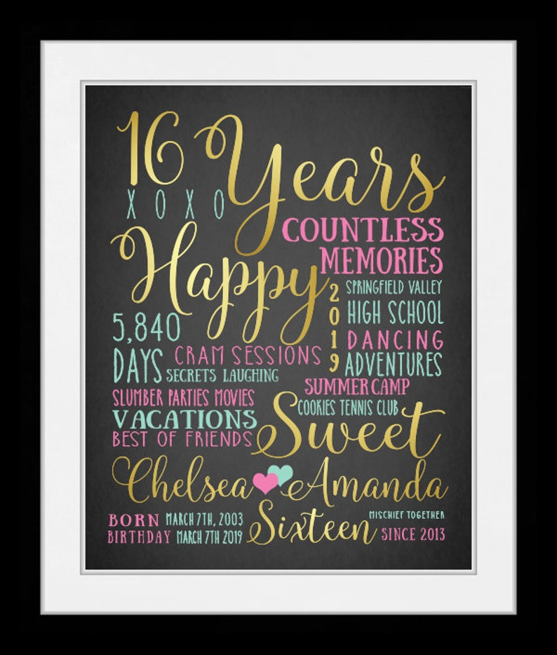 Sweet Sixteen 16th Birthday Gift Valentines Day For