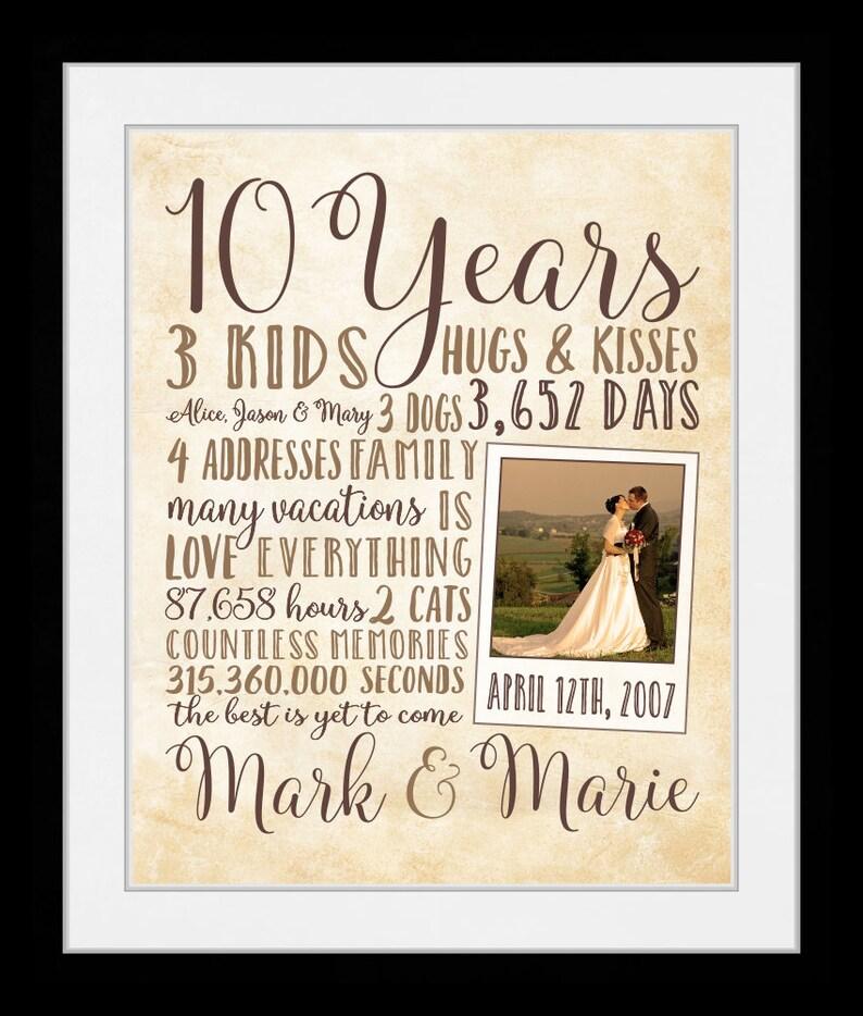 Personalize 10 Year Anniversary Gift Wedding Anniversary Etsy
