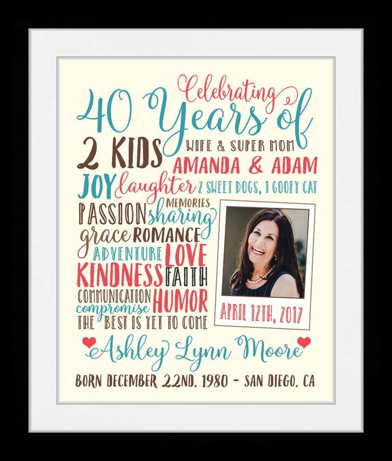 40th Birthday Gift 40 Years Old ANY Year Personalized For Best Friends Sisters Bday Party Stats 28142