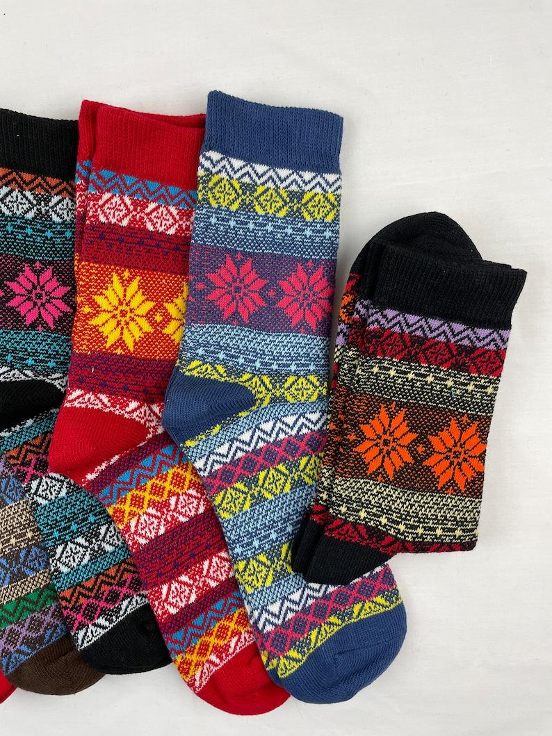6 pairs Flower Lining Crew Socks Women Fun Fashion Socks Patterned Socks Fun Gift High Quality One Size