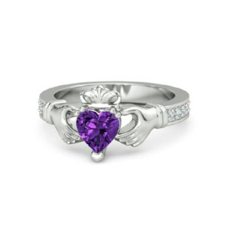 925 sterling silver amethyst /& Imitation heart shape gemstone Beautiful ring hands holding heart shows respect loyalty Engagement love ring