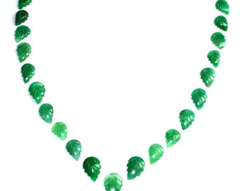 31.45 Cts A++ Attractive Natural Beryl Emerald Handmade Mughal Art Carved Pear Leaf Translucent Loose Gemstone 21pcs Whole Sale Lot Mix Size