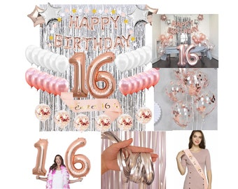 Sweet 16 Birthday Decoration Balloons Banner Backdrop Decorations Kit