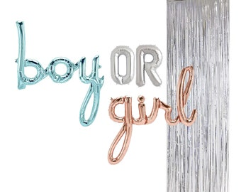 5514212204e83 BOY or GIRL Script Foil Balloons Baby Shower Gender Reveal Party  Decoration, Pregnancy Announcement Decor with Silver Foil Curtain