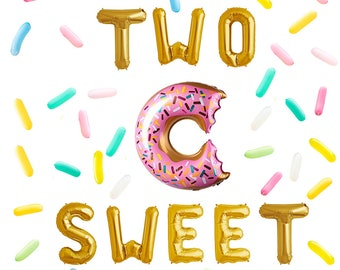 Two Sweet Letter Balloon Donut Birthday Decor Twin 2nd Party Candy Sprinkle Balloons Baby Gold Decorations