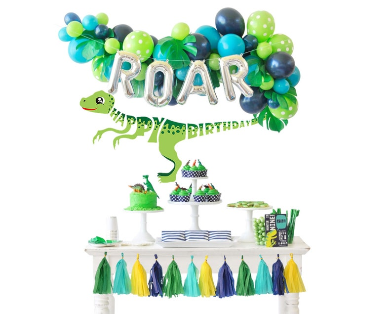 Dinosaur Birthday Party Decorations Balloons Garland With Roar Etsy